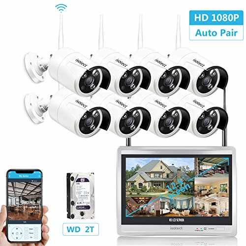 Security Camera System Wireless, 12 5-inch LCD Monitor All in One