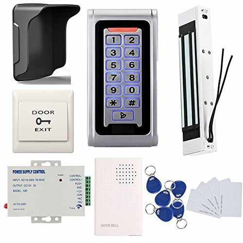 Waterproof Metal RFID Keypad Door Entry Systems U0026 350lbs Electric Magnetic  Lock+Rain Sheild +110V Power Supply+Push To Exit Button+RFID Keychains/Cards